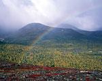 Окрестности Неройки. Осень вступает в свои права. Над вершинами, с западной стороны, постоянно протягивается облачность, орошающая всё мелкой водяной пылью. А к востоку небо часто открыто, и лучи солнца создают в этих брызгах радугу, которая может жить по