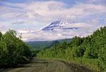 Россия, Камчатка, посёлок Ключи, вид на вулкан Ключевская сопка