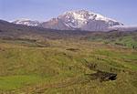 Россия, Камчатка, вулкан Ключевская сопка, северо-восточный склон, вид на гору Плоская
